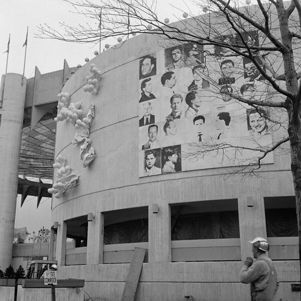 "Warhol's ""13 Most Wanted Men"" at the 1964 World Fair in Queens, New York before it was removed (picture via artnews)"
