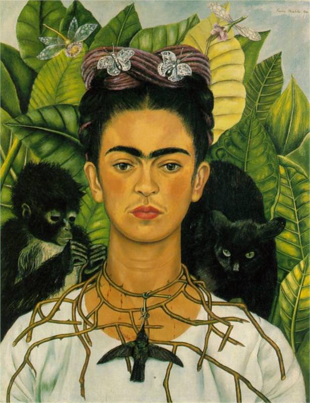 """Self Portrait With Thorn Necklace and Hummingbird"" by Frida Kahlo"